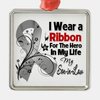 Son-in-Law Hero in My Life Brain Cancer Christmas Ornament