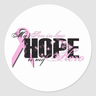 Son-in-law My Hero - Breast Cancer Hope Classic Round Sticker