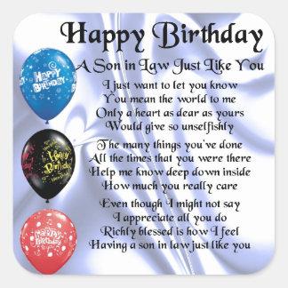 Son in Law poem -  Happy Birthday Design Square Sticker