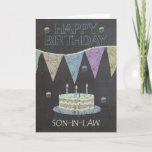 """Son-in-Law Trendy Chalk Board Effect, Card<br><div class=""""desc"""">Son-in-Law Trendy Chalk Board Effect,  With Birthday Cake</div>"""