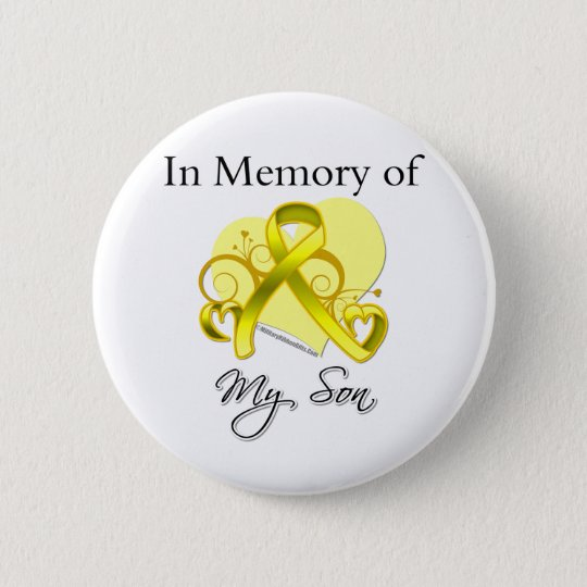 Son - In Memory of Military Tribute Pinback Button