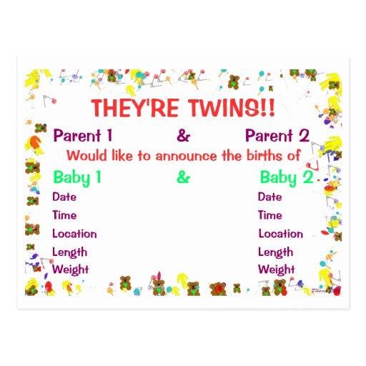 Son invitación del bebé de los gemelos para los tarjetas postales