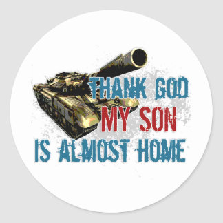Son is almost home classic round sticker