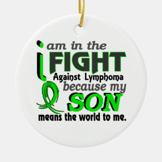 Son Means The World To Me Lymphoma Double-Sided Ceramic Round Christmas Ornament