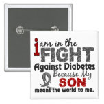 Son Means World To Me Diabetes 2 Inch Square Button