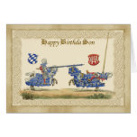 Son Medieval Knights Jousting in full barding and Greeting Card