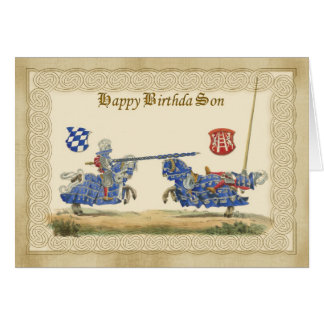 Son Medieval Knights Jousting in full barding and Card
