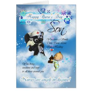 Son Nurse's Day cute little baby and cute nurse sk Greeting Card