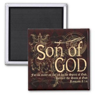 Son of God, Romans 8:14 Christian 2 Inch Square Magnet