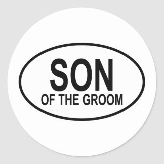 Son of the Groom Wedding Oval Classic Round Sticker