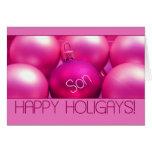 Son - Pink Happy Holigays Card