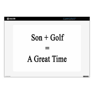 """Son Plus Golf Equals A Great Time 15"""" Laptop Decal"""