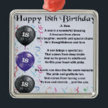 """Son Poem 18th Birthday Metal Ornament<br><div class=""""desc"""">A great gift for a son on his 18th birthday</div>"""