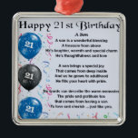 """Son Poem  - 21st Birthday Design Metal Ornament<br><div class=""""desc"""">A great gift for a son on his 21st birthday</div>"""