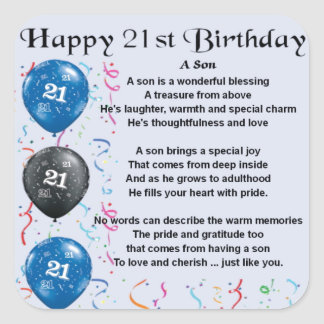 Son Poem  - 21st Birthday Design Square Sticker