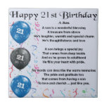 "Son Poem  - 21st Birthday Design Tile<br><div class=""desc"">A great gift for a son on his 21st birthday</div>"