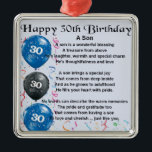 """Son Poem  - 30th Birthday Design Metal Ornament<br><div class=""""desc"""">A great gift for a son on his 30th birthday</div>"""