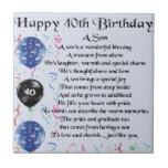 "Son Poem  - 40th Birthday Design Ceramic Tile<br><div class=""desc"">A great gift for a son on his 40th birthday</div>"