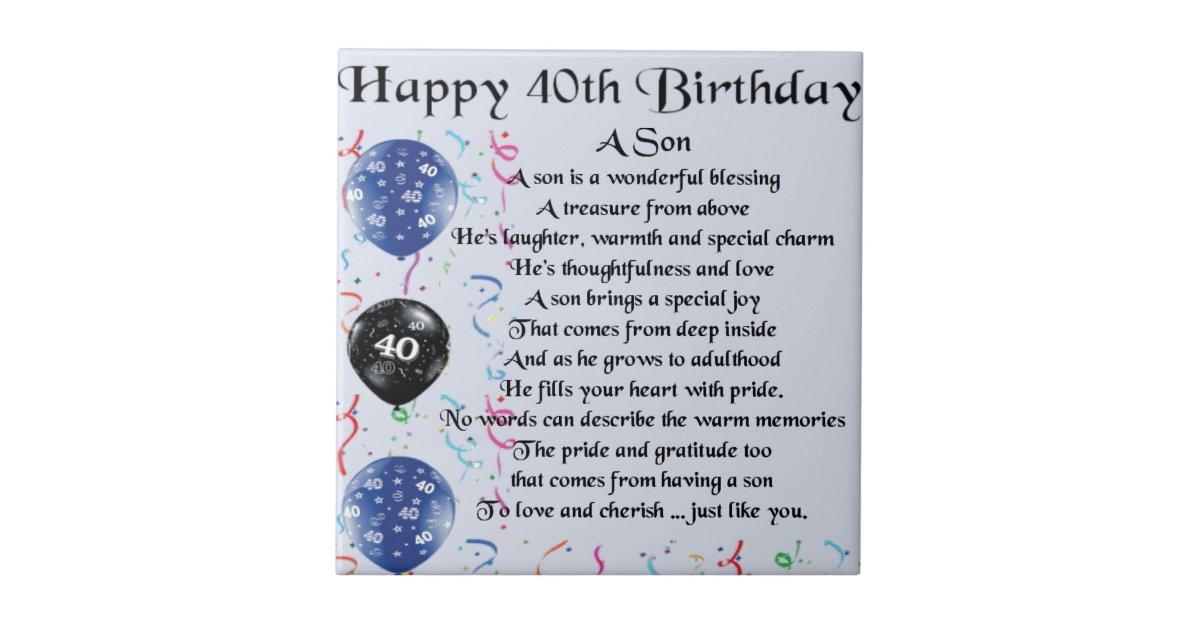 Son Poem - 40th Birthday Design Ceramic Tile   Zazzle.com