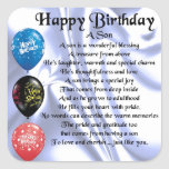 """Son Poem  -  Happy Birthday Square Sticker<br><div class=""""desc"""">A great gift for a son on his birthday</div>"""