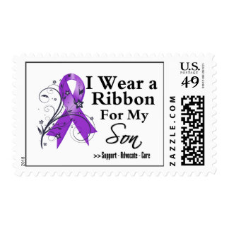 Son Purple Ribbon - Pancreatic Cancer Postage Stamps
