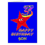 Son Red Smiley Star 3rd Birthday Cards
