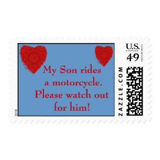 Son rides a Motorcycle, watch out for him Stamp