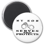 Son Serves Protects - Cuffs 2 Inch Round Magnet