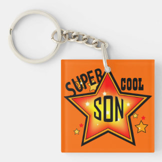 Son Super Cool Star Funny Keychain