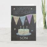 "Son Trendy Chalk Board Effect, With Birthday Cake Card<br><div class=""desc"">Son Trendy Chalk Board Effect,  With Birthday Cake</div>"