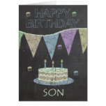 Son Trendy Chalk Board Effect, With Birthday Cake Card