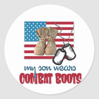 Son wears combat boots classic round sticker