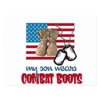 Son wears combat boots postcard