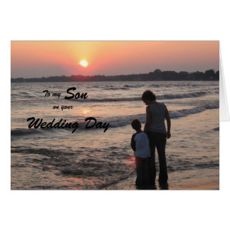 Son Wedding Day Card Sunset On Beach