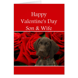 Son & Wife Glossy Grizzly Valentine Puppy Love Card