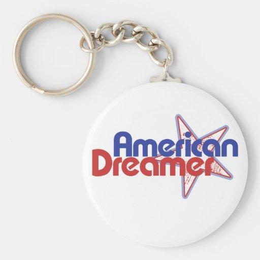 Soñador americano llavero redondo tipo pin