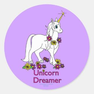 Soñador del unicornio pegatina redonda