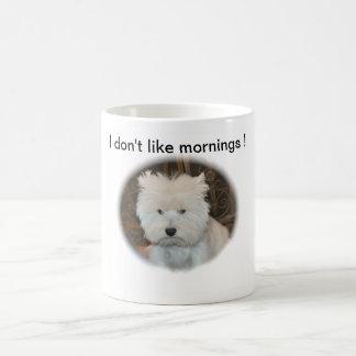 Soñador el westie molesto tazas de café
