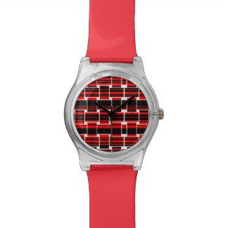 Soñador tejida negro rojo reloj