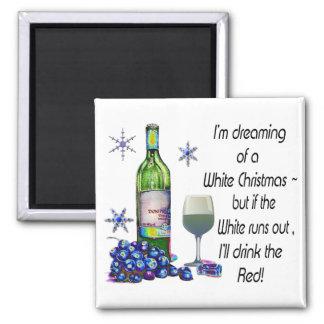 Soñando con Christms blanco imán divertido del vi