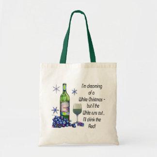 Soñando con el navidad blanco, regalos divertidos  bolsas lienzo
