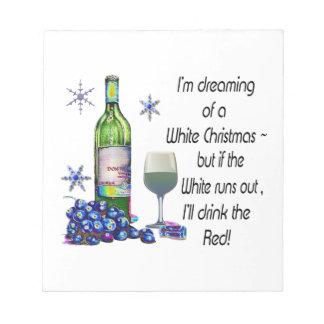 Soñando con el navidad blanco regalos divertidos blocs de papel