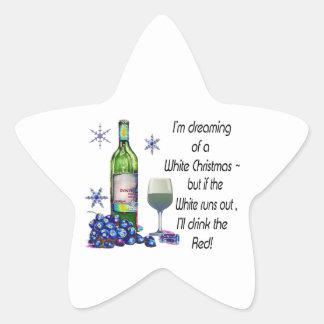 Soñando con el navidad blanco, regalos divertidos pegatina en forma de estrella