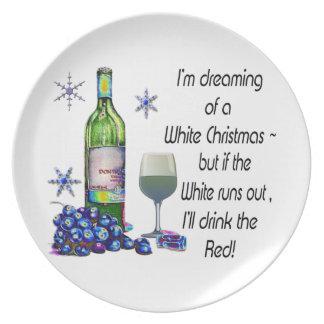 Soñando con el navidad blanco regalos divertidos plato para fiesta