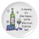 Soñando con el navidad blanco, regalos divertidos  plato para fiesta