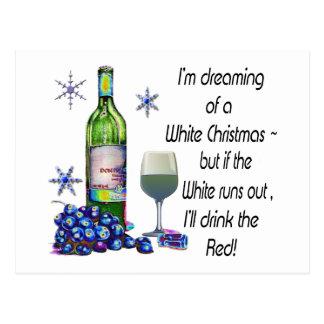 Soñando con el navidad blanco regalos divertidos tarjeta postal