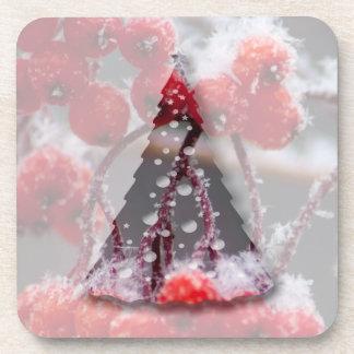 SONB Snow on Berries; Christmas Beverage Coaster