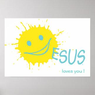Sonburst Jesus loves you Poster