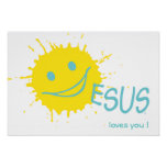 Sonburst Jesus loves you Poster Print