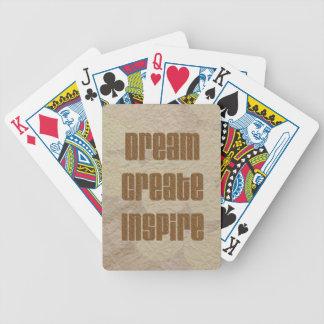 Soñe, cree, inspire la fuente de estampado leopard baraja de cartas bicycle